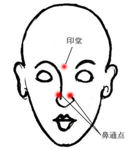 鼻通点と印堂のツボ