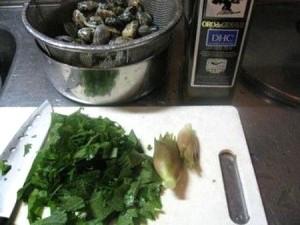 香菜とアサリのオリーブ焼き レシピ