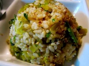 高菜の玄米混ぜご飯 三つ葉入り